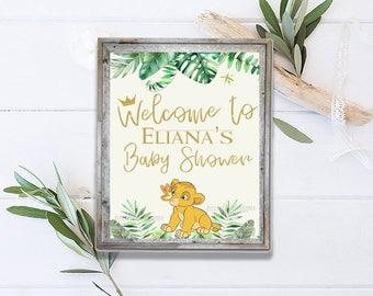Simba Printable Welcome Sign, Simba Baby Shower Personalized Printable  Sign, Lion King Simba Baby