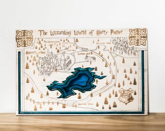 Harry Potter wooden map with blue ocean, Hogwarts map, Harry Potter wizarding Map, Wizarding Map of Harry Potter, Wood map of Harry Potter