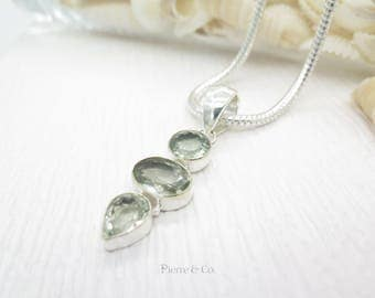 Clear cut Green Amethyst Sterling Silver Pendant and Chain