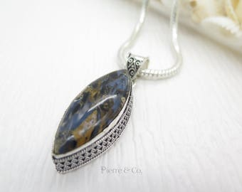 Vintage Boulder Opal Sterling Silver Pendant and Chain