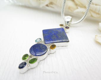Lapis Lazuli Amethyst and Citrine Sterling Silver Pendant and Chain