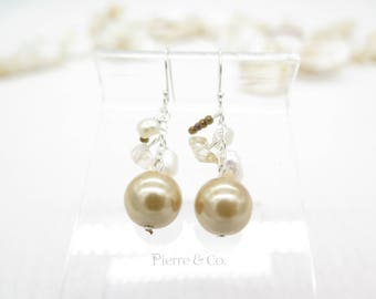 Fresh Water Pearls Sterling Silver Dangle Earrings