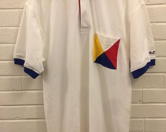 Vintage 90's Tommy Hilfiger Sailing Gear Button Polo Shirt Men's Size Small Logo