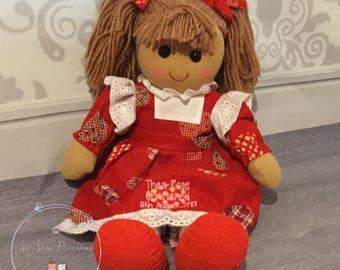 Personalised Rag Doll, birthday, new baby, christening, baptism, dedication gift, princess, beautifully handmade, personalized doll