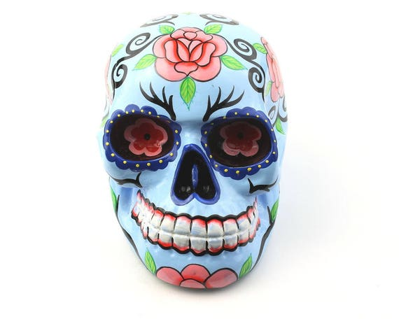 Large Blue Sugar Skull Decor, Hand Painted Skull, Mexican Sugar Skull, Home Decor, Day of the Dead, Decorative Skull