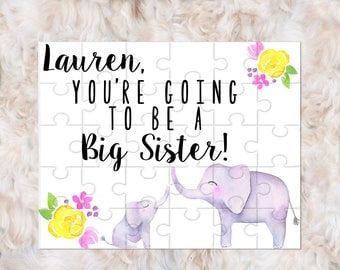 Big Sister Announcement, Big Sister Gift, Elephant Big Sister Gift, Elephant Big Sister Announcement, Pregnancy Announcement to Sibling