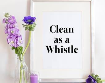Bathroom Wall Decor, Cute Bathroom Prints, Bathroom Decor, Clean As A Whistle, Black and White, Bathroom Wall Art, Kids Bathroom Wall Decor