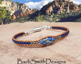 Skinny Blue Leather Bracelet-Blue Silver Beaded Leather-Blue Cobalt Wrap Bracelet-One Wrap-Magnet Closure-Custom Sizes-Skinny Mini in Cobalt