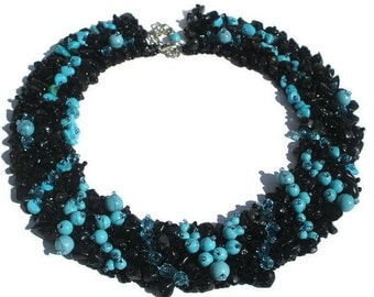 Bridesmaid gift necklace Turquoise necklace statement deco Turquoise jewelry necklace black stone necklace Blue black necklace women jewelry