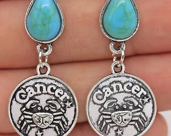 Turquoise zodiac Cancer earrings.  AB3