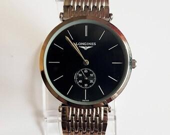Longines Watch - Splendid Unisex Longines Watch - Vintage Black Dial Longines Watch - Quartz movement