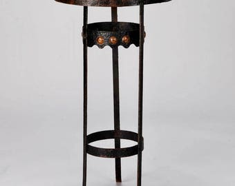 Arts and Crafts Bronze Metal Gueridon Side Table c.1930 [6503]