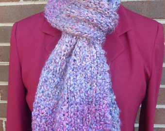 Handmade purple straight knit chunky scarf mingled with fucshia and white. Free domestic USPS shipping!!