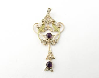 Antique 10 Karat Yellow Gold Amethyst and Pearl Pendant #3209