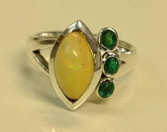 Australian Opal and Emerald ring