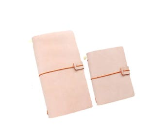 Dusty Pink Leather Traveler's Notebook, Refillable Leather Notebook Journal, Leather Notebook - PJ302