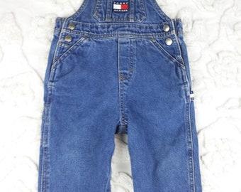 Tommy Hilfiger Jeans Baby Overalls Bib Blue Denim 12 18 M Vintage Gender Neutral