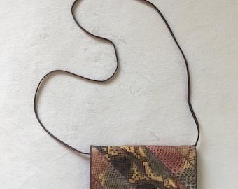 Vintage 70s Purple Striped Snakeskin Crossbody Clutch Purse ~ Varon