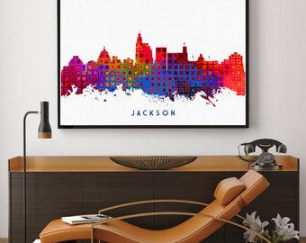Jackson Skyline Print, Jackson Painting, Jackson Art, Jackson Wall Decor, Watercolor Jackson, Mississippi (N190)