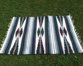 Vintage Mexican Blanket, Serape Blanket, Aztec Blanket, Wool Throw, Tribal Inca, Rainbow Blanket Colorful, Beach Blanket, Picnic, 4'x6'