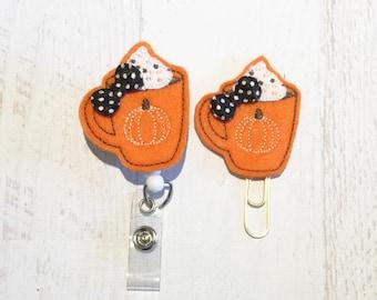 Fall Pumpkin Latte Felt Paper clip l Badge Reel ID Holder l Magnet l Brooch Pin l Planner Clip ID Lanyard Planner Accessories (86)