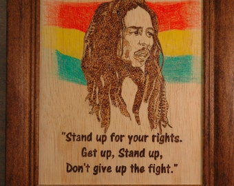 Bob Marley Wood Burnings - choose from two different quotes