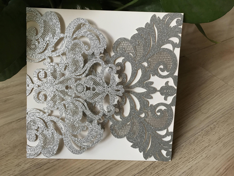 50pcs Freeshipping Glitter Paper Personalized Wedding Invitation