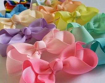 """Pastel boutique hair bows,bobbles, small 2.5"""", 3.5"""" hair bows, green, pink,blue,rainbow,cream,lilac, lemon yellow,peach,aqua,handmade, uk"""