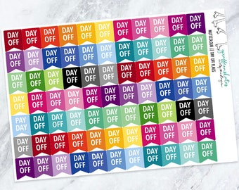77 Day Off Flag Planner Stickers (Stickers for Erin Condren Life Planner)