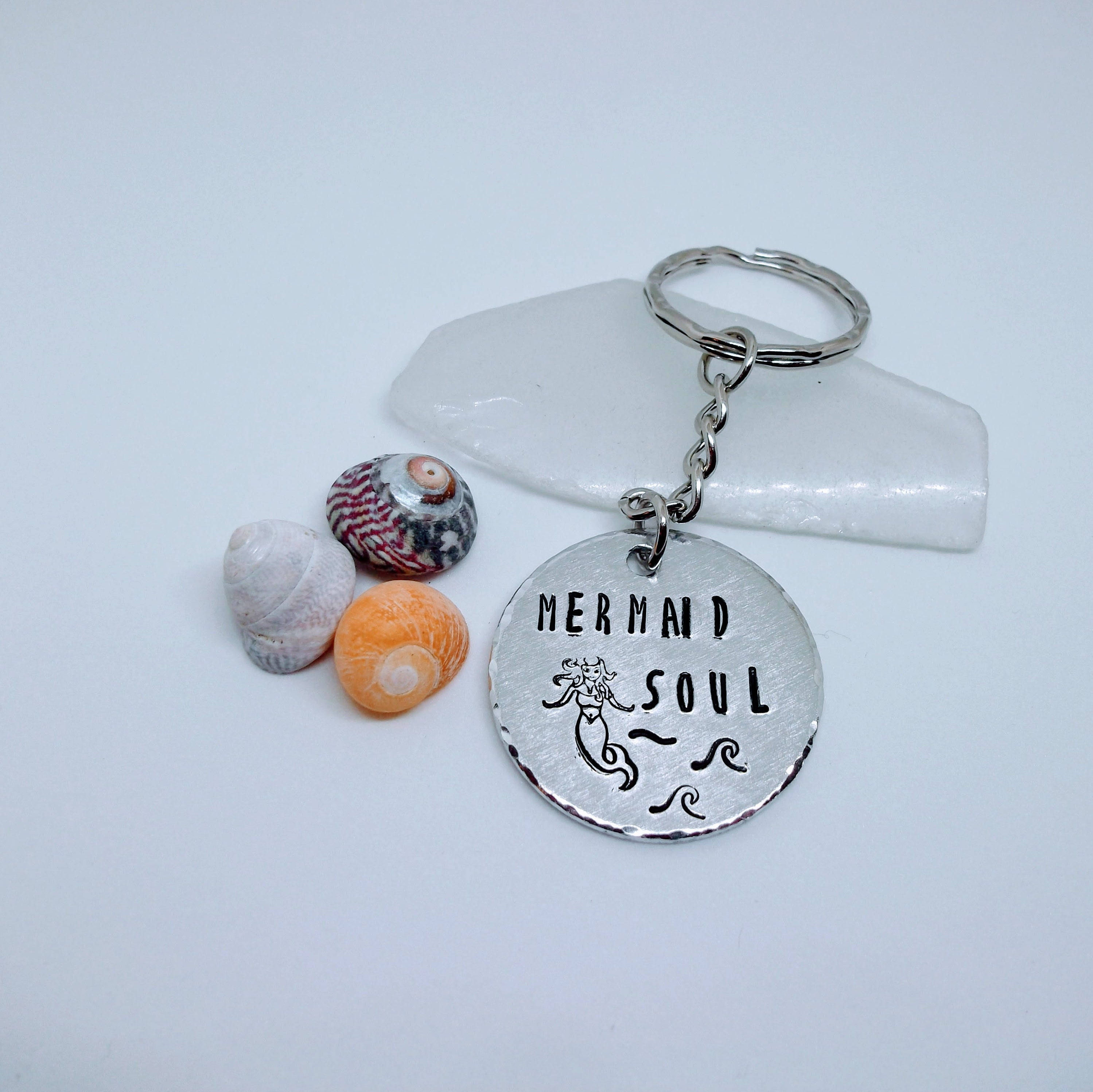 Mermaid Keyring, Hand stamped, Mermaid Keychain, Handstamped ...