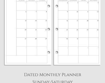 "Dated Monthly Calendar Planner Inserts, MO2P, 2017 and 2018, Sunday-Saturday Layout ~ Half Letter / 5.5"" x 8.5"" / Mini 3-Ring (3RM-MSS)"