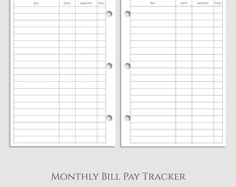 "Monthly Bill Pay Tracker Planner Inserts, Bills Due Reminder, Payment Organizer ~ Half Letter / 5.5"" x 8.5"" / Mini 3-Ring (3RM-MBP)"