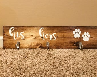 His, Hers & Dog / Entryway Key Hooks / Leash and Collar Holder / Entryway Sign / Pawprint / Dog / Pawprint / Wooden Gift