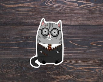 Harry Potter Cat Sticker - Harry Potter Vinyl - Cute Cat Planner/Gryffindor Laptop Stickers/Hogwarts Car Decal/Harry Potter Christmas Gift