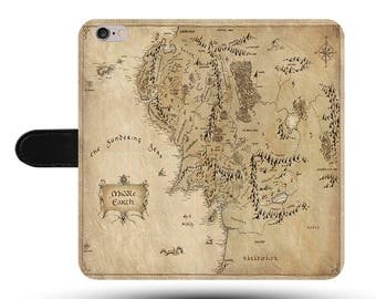 Middle Earth Hobbit Travel Adventure Tolkien Novel Faux Leather Phone Cover with Magnetic Clasp for iPhone and Samsung Galaxy LM041