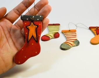 set of 4 cute wooden socks christmas tree ornaments precious xmas tree decor cute