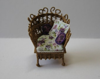 Quarter scale miniature wicker chair