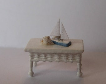 Quarter scale miniature wicker coffee table