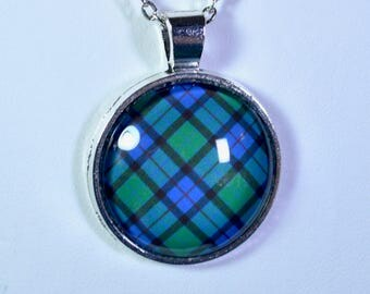 Flower of Scotland Tartan - Handmade Scottish Tartan Pendant/Keychain