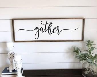 Gather 36x12 Sign. Gather wood framed sign. Farmhouse sign. Wood framed sign. Rustic wall decor. Fixer upper sign. farmhouse wall decor.