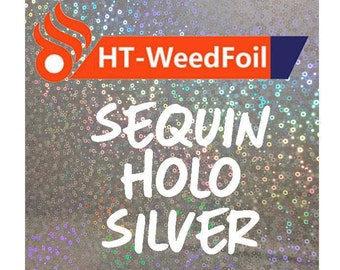 HT WeedFoil Heat Transfer Vinyl - Iron On - HTV - Sequin Holo Silver Foil