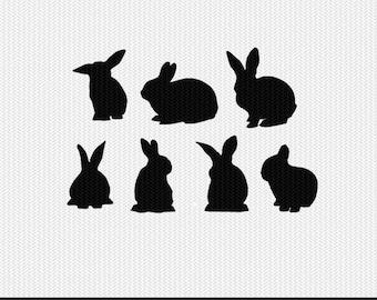 rabbits svg dxf file stencil monogram frame silhouette cameo cricut clip art commercial use