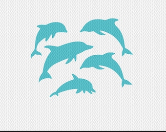 dolphins svg dxf jpeg png file instant download stencil monogram frame silhouette cameo cricut clip art commercial use