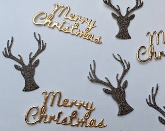 Merry Christmas Confetti, Gold and Bronze Confetti, Holiday Confetti, Christmas Party Decor, Goud en Brons Kerst Confetti, Unique, Handmade