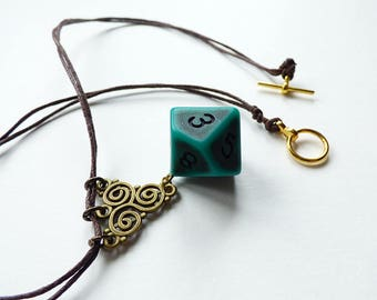 Atlantis - Dungeons and Dragons D10, Necklace, Pendant, brown, green, gold, celtic, RPG, D&D, Jewellery, Dice, sea, ocean, d20