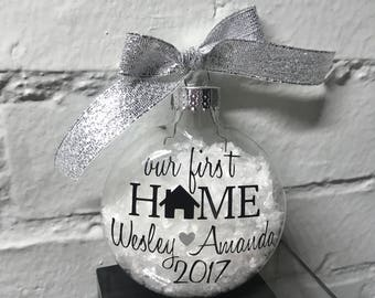Our First Home Glass Christmas Ornament - Free Personalization - Glass Ornament - House Warming Gift - Personalized Ornament - First Home