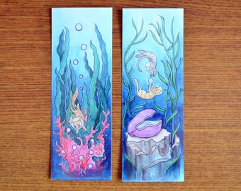 Bookmark - Scuba Cat Adventure / Underwater Coral Reef Clam Deep Sea Diving Pearl Rescue Kitties Fantasy Art / Handpainted