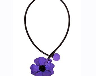 Offset to the right leather flower purple anemone Flower necklace