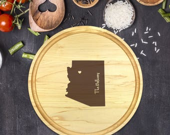 Custom Cutting Board Round - State Cutting Board, Wedding Gift, Personalized Gift, Housewarming Gift, Anniversary Gift, Christmas, B-0013