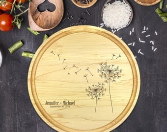 Personalized Cutting Board Round, Cutting Board Personalized, Wedding Gift, Housewarming Gift, Anniversary Gift, Dandelion, Names, B-0054